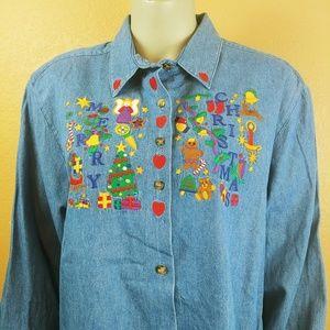 KAREN SCOTT Denim Christmas Button Front Shirt XL